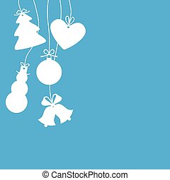 Silhouettes of hanging Christmas ba
