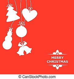 Silhouettes of hanging Christmas baubles on red background