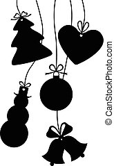 Silhouettes of hanging Christmas baubles