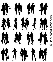 Silhouettes of happy family.