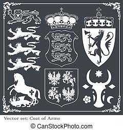 Silhouettes of heraldic elements