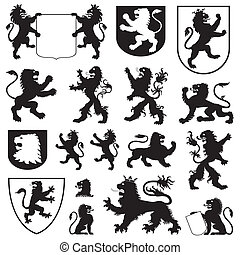 Some types of heraldic lions and heraldic shields.