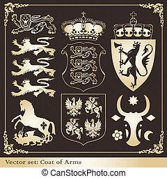 Silhouettes of heraldic lions