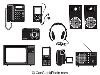 Silhouettes of home technics. Vector black icons
