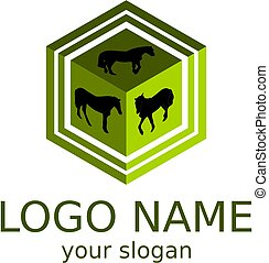 Silhouettes of horses on the background of the cube. 3D logo is green. Vector