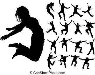 Silhouettes of jumping people - Some silhouettes of jumping...