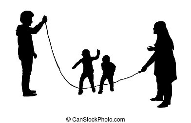Silhouettes of jumping rope