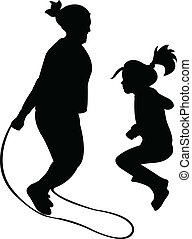 Silhouettes of jumping rope-vector