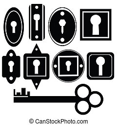 silhouettes of key and keyholes on a white background