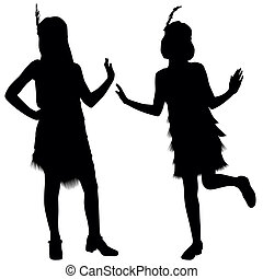 Silhouettes of two girls with retro costumes from cabaret