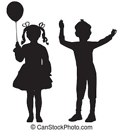 Silhouettes of kids - Silhouettes of happy kids - girl and...