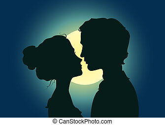 Silhouettes of kissing couple in the moonlight