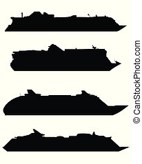 Silhouettes of large cruise ships