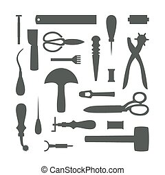 Silhouettes of Leather Craft Tools vector illustration -...