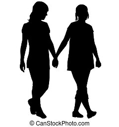 Silhouettes of lesbian couple holding hands