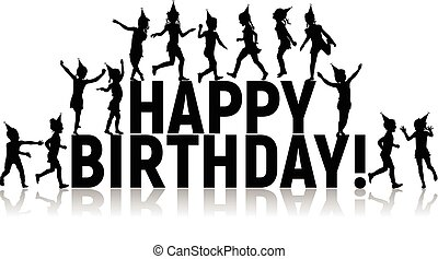 Silhouettes of letters children happy birthday