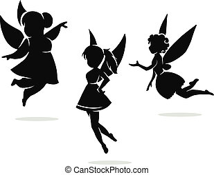 silhouettes of little fairies - Vector black and white...