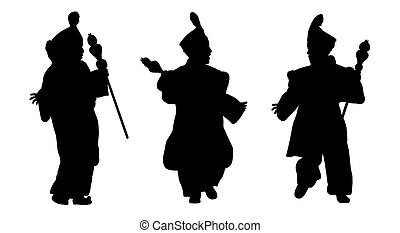 silhouettes of little prince from orient - set of three...