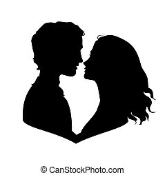 Silhouettes of loving couple. Eps 8 vector illustration