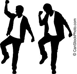 Silhouettes of lucky men