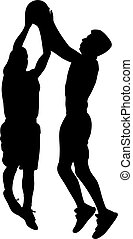 Silhouettes of male basketball players jumping to shot a ball