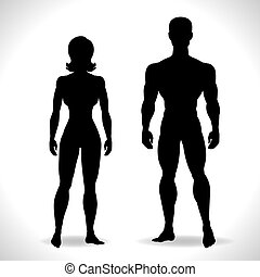 Silhouettes of man and woman in black color.