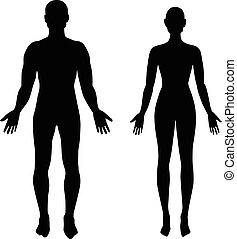 silhouettes of man and woman in black color vector eps 10