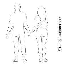 Silhouettes of man and woman holding their hands isolated on...