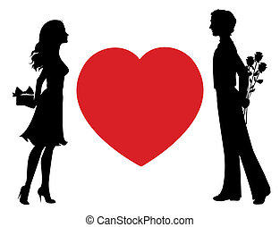 Silhouettes of man and woman with gifts