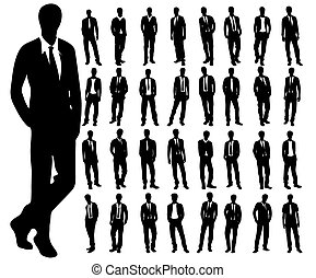 Silhouettes of man on a white background