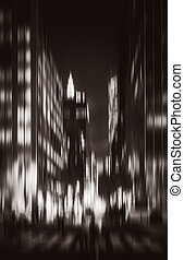 Silhouettes of Manhattan at night