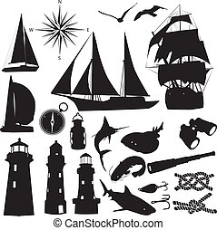 silhouettes of marine recreation - Silhouettes symbolize the...