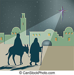 Silhouettes of Mary and Joseph travelling to Bethlehem