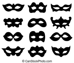 silhouettes of masks