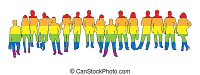 Silhouettes of men and women in LGBT colors