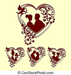 silhouettes of men and women inside the heart, retro set