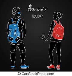 Silhouettes of men and women tourists on a black background,