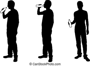 Silhouettes of men drinking from bottles