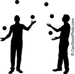 Silhouettes of men juggling balls