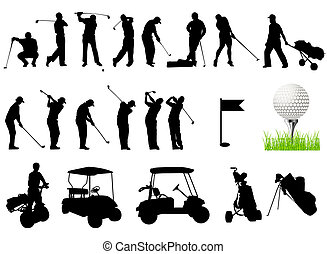 Silhouettes of Men playing golf with golf ball