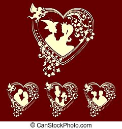 silhouettes of men Prince and Princess, girls inside the heart, retro set