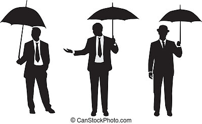 Silhouettes of men with an umbrella