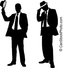 silhouettes of men with hats