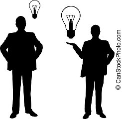 Silhouettes of men with light bulbs