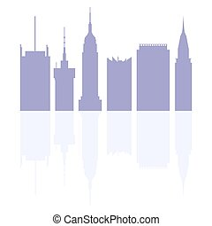 Silhouettes of modern buildings in the USA.