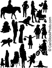 Silhouettes of mother and daughter