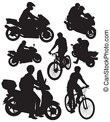 silhouettes of motorcycles and bikes on a white background
