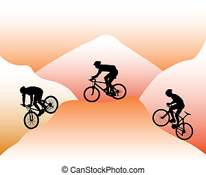 mountain bikers - silhouettes of mountain bikers on a...