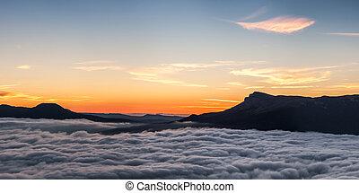 Silhouettes of mountains