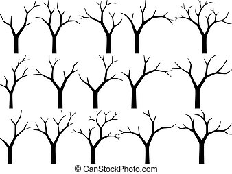 silhouettes of naked trees on white background